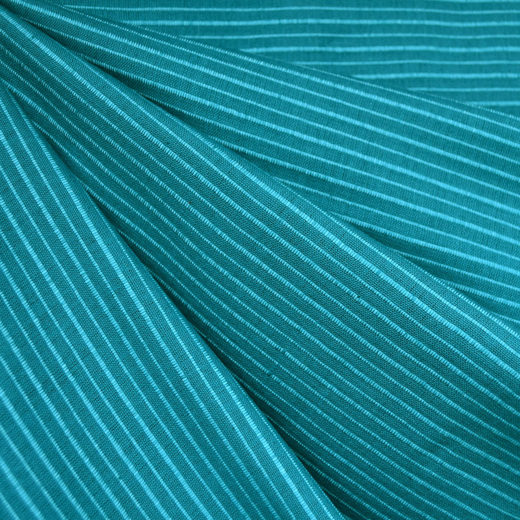 Mariner Cloth Stripe Shirting Teal - Fabric - Style Maker Fabrics