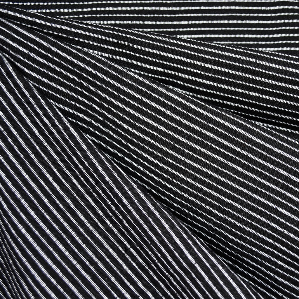 Mariner Cloth Stripe Shirting Black - Fabric - Style Maker Fabrics