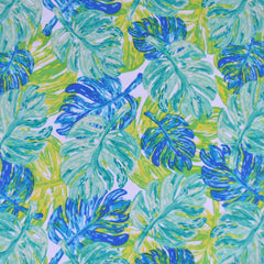 West Palm Leaf Collage Jersey Knit Aqua/Lime - Fabric - Style Maker Fabrics