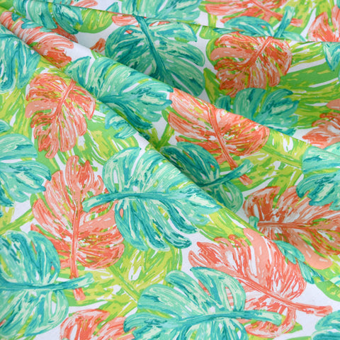 West Palm Leaf Collage Pima Cotton Lime/Sherbet