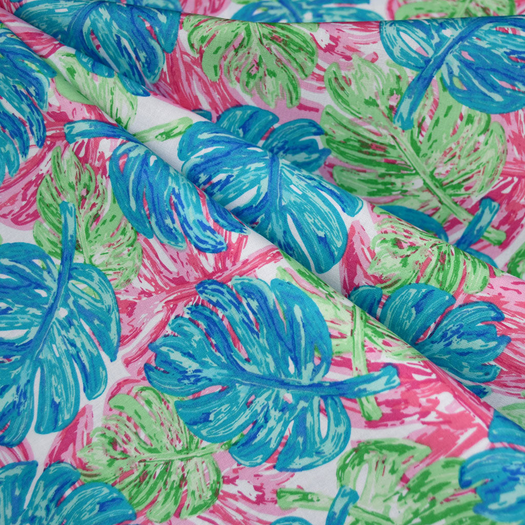 West Palm Leaf Collage Pima Cotton Aqua/Pink - Sold Out - Style Maker Fabrics