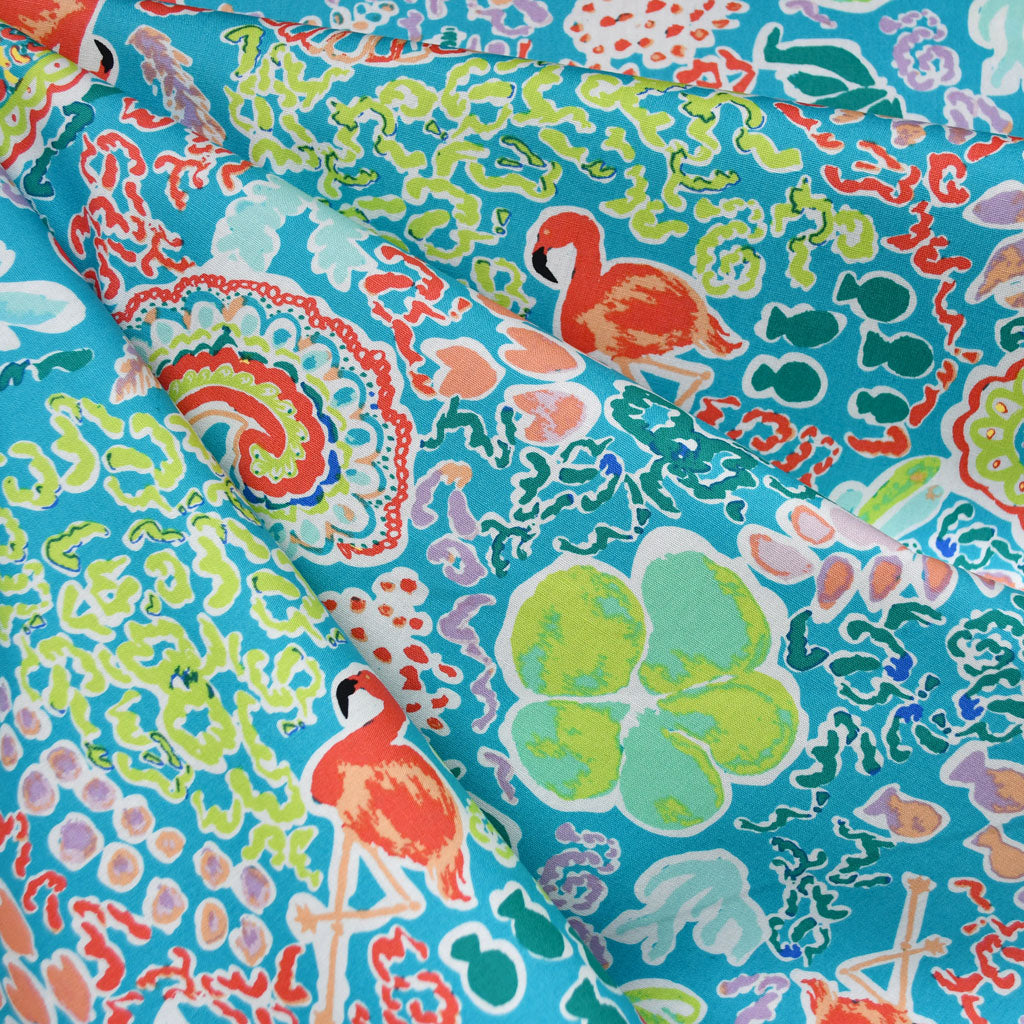 West Palm Beach Treasures Pima Cotton Turquoise - Fabric - Style Maker Fabrics