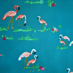 West Palm Flamingo Field Pima Cotton Teal - Fabric - Style Maker Fabrics