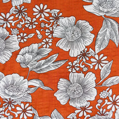 Floral Outline Textured Voile Shirting Tomato - Fabric - Style Maker Fabrics