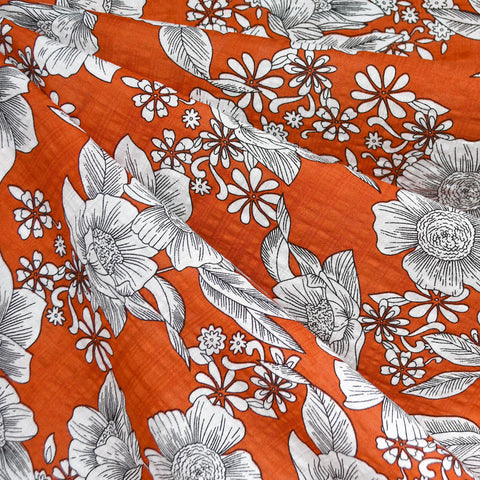 Floral Outline Textured Voile Shirting Tomato