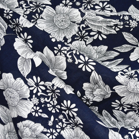Floral Outline Textured Voile Shirting Navy