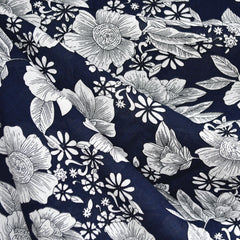Floral Outline Textured Voile Shirting Navy SY - Sold Out - Style Maker Fabrics