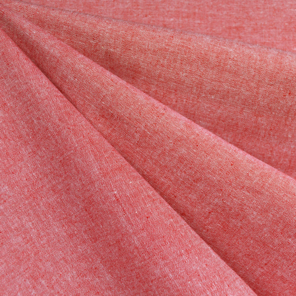 Summer Chambray Stretch Cotton Shirting Red - Fabric - Style Maker Fabrics