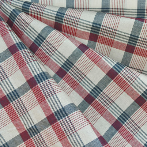 Americana Yarn Dyed Plaid Shirting Cream/Navy/Red SY