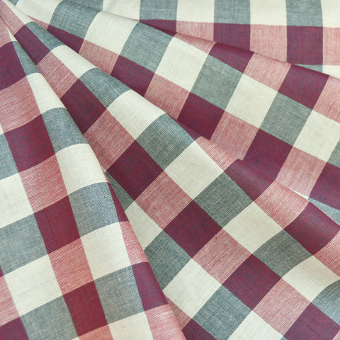Americana Yarn Dyed Check Plaid Shirting Cream/Navy/Red