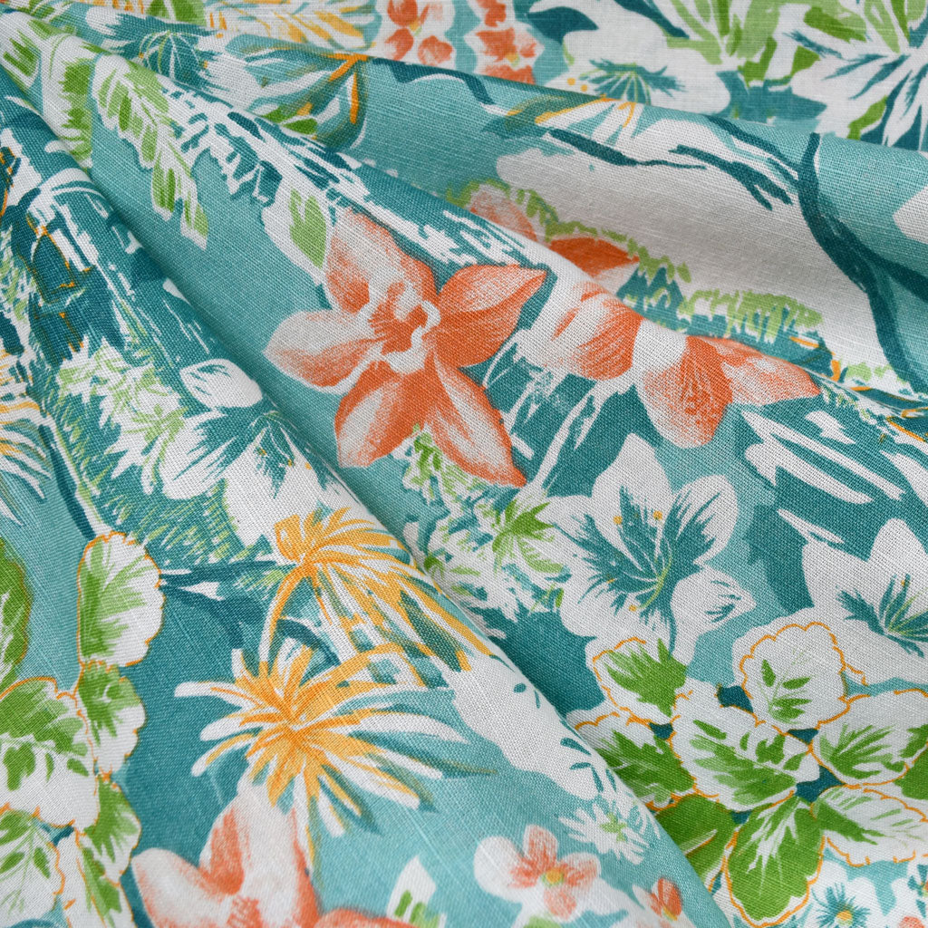 Watercolor Tropical Floral Village Linen Shirting Aqua - Fabric - Style Maker Fabrics