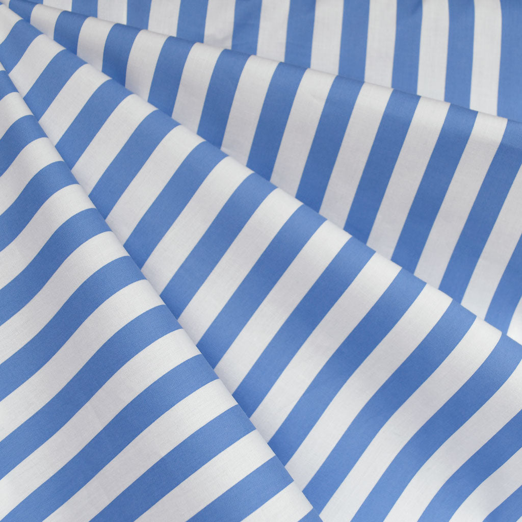 Summer Stripe Stretch Shirting Blue/White - Fabric - Style Maker Fabrics