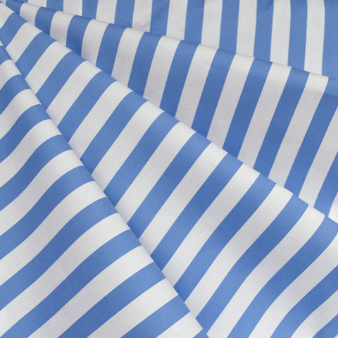 Summer Stripe Stretch Shirting Blue/White