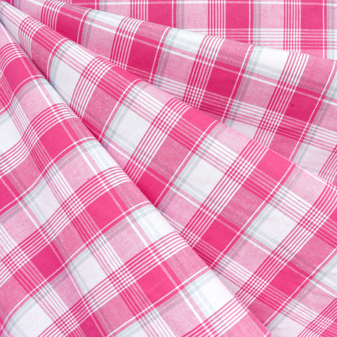 Summer Picnic Plaid Stretch Shirting Pink/White SY