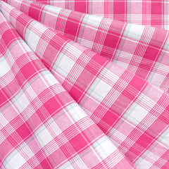 Summer Picnic Plaid Stretch Shirting Pink/White - Fabric - Style Maker Fabrics