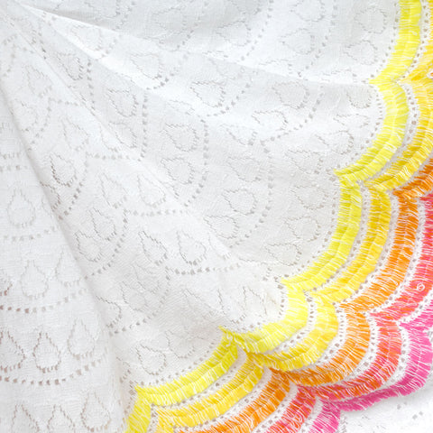 Summer Fun Scallop Novelty Lace White/Brights