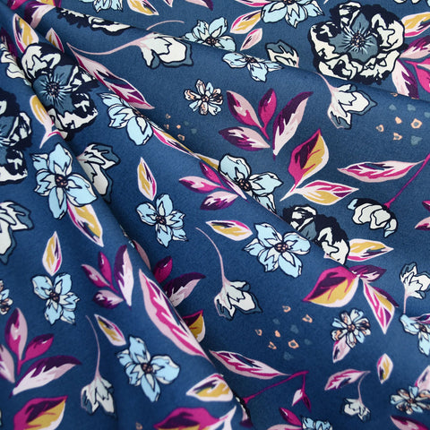 Mystical Land Enchanted Flora Pima Cotton Navy