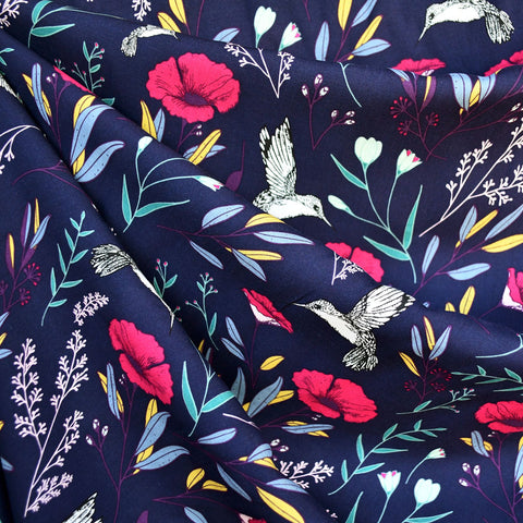 Mystical Land Magic Fauna Rayon Navy