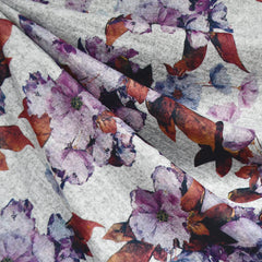 Fall Floral Digital Print Heather Sweater Knit Plum - Sold Out - Style Maker Fabrics
