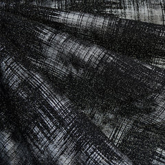 Distressed Metallic Plaid Double Knit Black/Silver - Fabric - Style Maker Fabrics