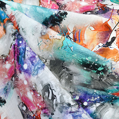 Abstract Art Digital Print Linen Shirting Multi