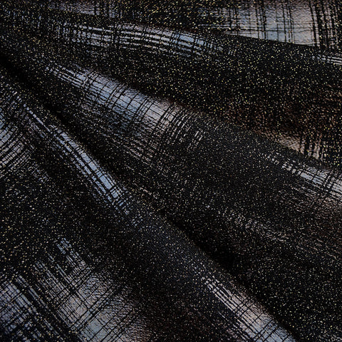 Distressed Metallic Plaid Double Knit Black/Copper