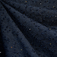 Sequin Boucle Textured Sweater Knit Navy - Fabric - Style Maker Fabrics