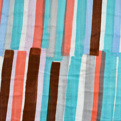 Japanese Nani Iro Grace Watercolor Stripe Double Gauze Aqua/Coral - Fabric - Style Maker Fabrics