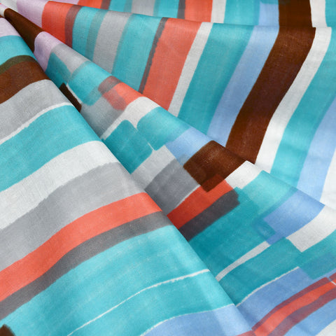 Japanese Nani Iro Grace Watercolor Stripe Double Gauze Aqua/Coral