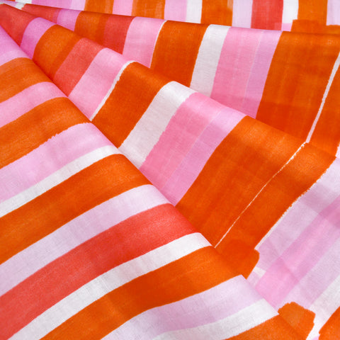 Japanese Nani Iro Grace Watercolor Stripe Double Gauze Pink