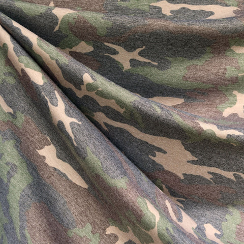 Distressed Camouflage Cotton Jersey Olive/Tan