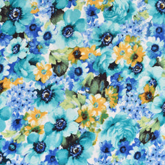 Layered Watercolor Floral Rayon Jersey Knit Turquoise/Blue SY - Sold Out - Style Maker Fabrics