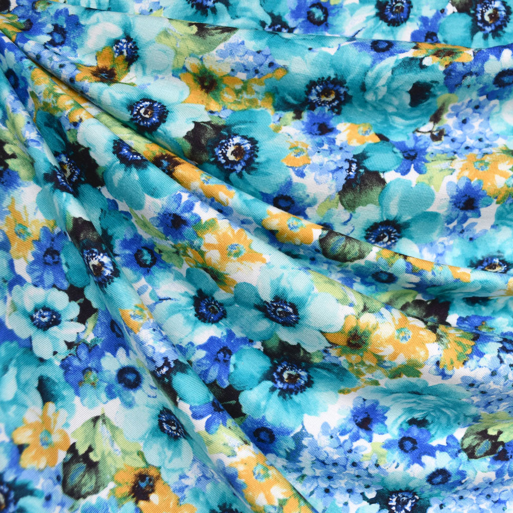 Layered Watercolor Floral Rayon Jersey Knit Turquoise/Blue - Fabric - Style Maker Fabrics