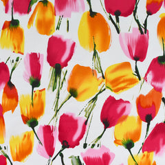 Brushstroke Tulip Stretch Sateen Pink/Yellow - Fabric - Style Maker Fabrics
