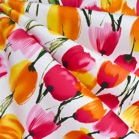 Brushstroke Tulip Stretch Sateen Pink/Yellow