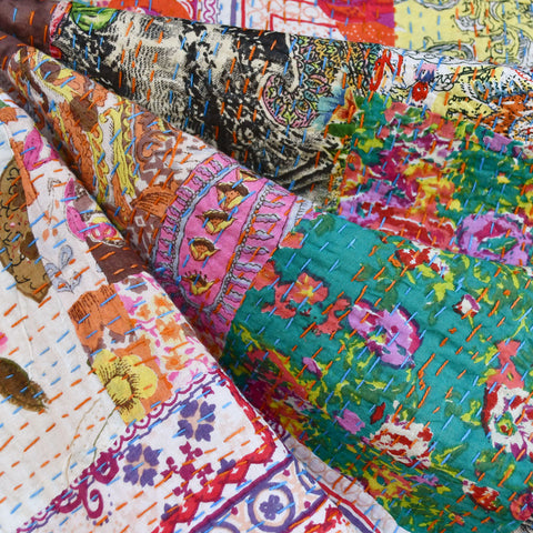 Handcrafted Patchwork Kantha Double Cloth Cream