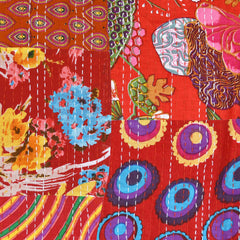 Handcrafted Large Patchwork Kantha Double Cloth Red SY - Sold Out - Style Maker Fabrics