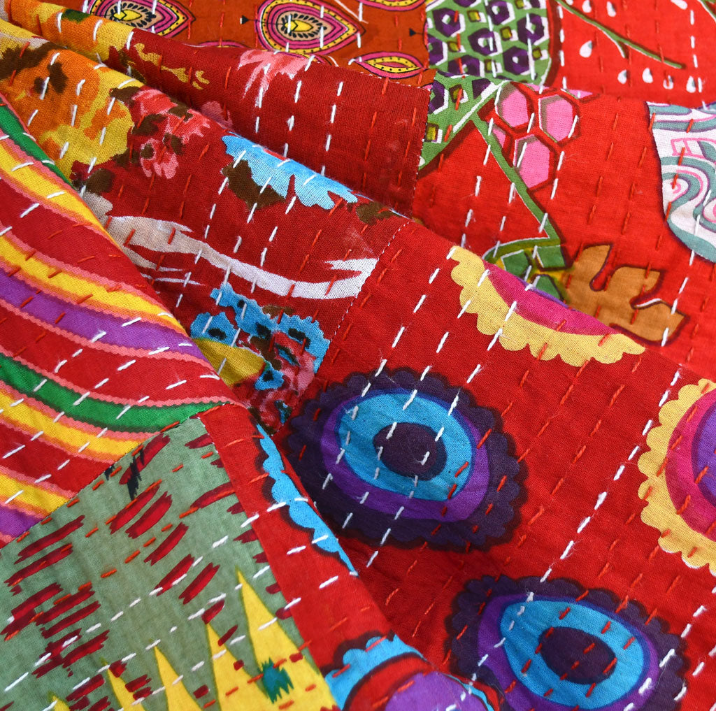 Handcrafted Large Patchwork Kantha Double Cloth Red - Fabric - Style Maker Fabrics
