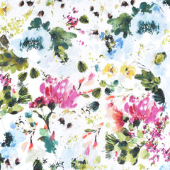 Field Day Watercolor Floral Cotton Lawn White SY - Sold Out - Style Maker Fabrics