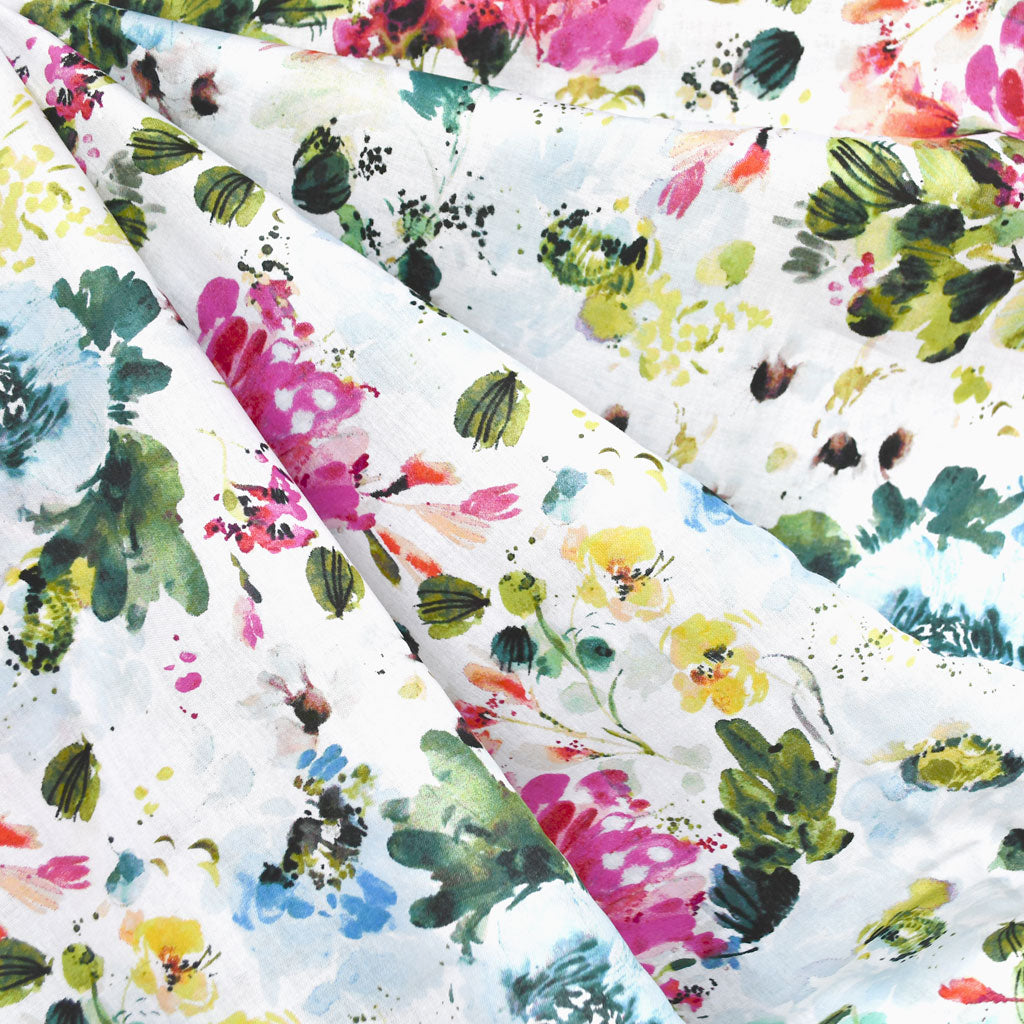 Field Day Watercolor Floral Cotton Lawn White - Sold Out - Style Maker Fabrics