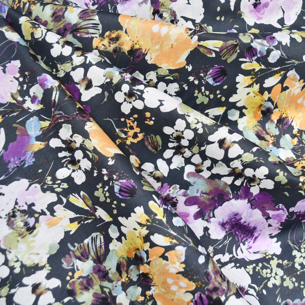 Field Day Watercolor Floral Cotton Lawn Charcoal - Sold Out - Style Maker Fabrics