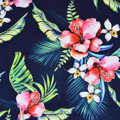 Digital Print Tropical Floral Rayon Poplin Shirting Navy - Fabric - Style Maker Fabrics