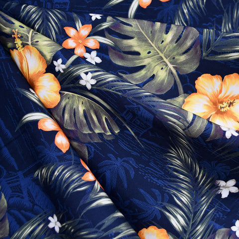 Digital Print Island Village Floral Rayon Poplin Shirting Navy