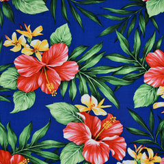 Hibiscus Floral Rayon Poplin Shirting Royal - Fabric - Style Maker Fabrics