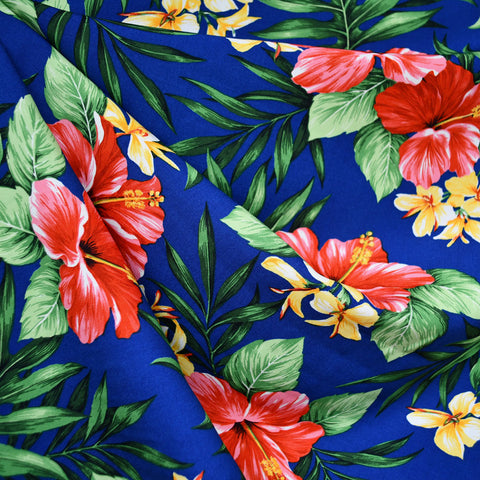 Hibiscus Floral Rayon Poplin Shirting Royal