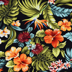 Bold Tropical Floral Hawaiian Cotton Shirting Black/Multi - Fabric - Style Maker Fabrics