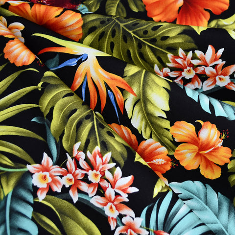 Bold Tropical Floral Hawaiian Cotton Shirting Black/Multi