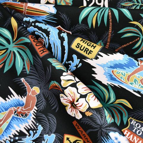 Surfs Up Hawaiian Cotton Shirting Black/Multi