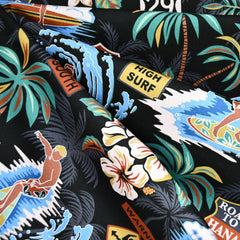 Surfs Up Hawaiian Cotton Shirting Black/Multi - Fabric - Style Maker Fabrics