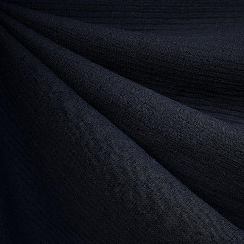 Plush Italian Wool Triple Gauze Suiting Navy